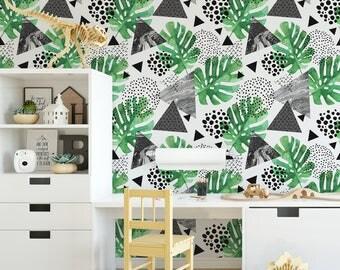 Tropical Monochrome Palm Leaf Watercolour Wallpaper