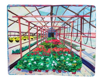 "Fine Art Print of Landscape Painting from Artist Travel Journal - ""Finland Flower Greenhouse"""