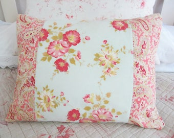 Prettiest VINTAGE EIDERDOWN FABRICS~Unique handmade pillow/cushion~Lined/backed with antique French linen~Includes plump new feather insert