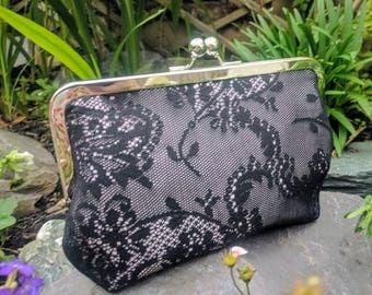 Black lace clutch bag. Bridal clutch bag. Evening bag. Bridesmaid clutch. Silver frame clutch purse, kiss lock,large purse.