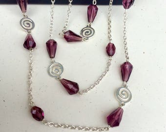 Long Chain Necklace - Extra Long Beaded Necklace - Long Necklace - Amethyst Beaded Necklace - Long Silver Chain Necklace - Silver Chain