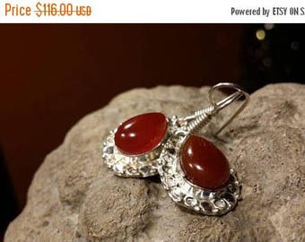 Holiday SALE 85 % OFF Carnelian   Earrings .925 Sterling Silver Gemstone