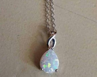 Holiday SALE 85 % OFF Opal Necklace Pendant Set .925 Sterling  Silver Gemstone