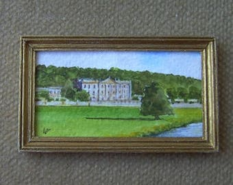 Original dollhouse painting. Miniature watercolour. 1/12 scale. CHATSWORTH. Artist Pauline Whiteley. Dolls house art. Miniature art.