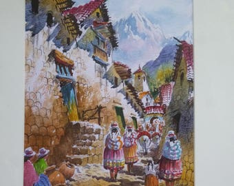 Vintage Watercolor made in Peru Folk Art Landscape Village Scene with Andes Mountains