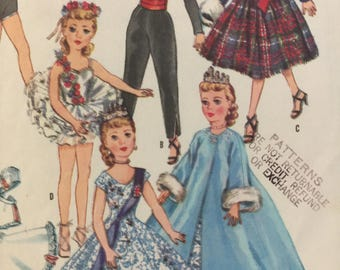 McCall's 2255, Doll Clothes, 10 and half inch Doll,Leotard, Pants, Jacket, Skirt, Petticoat,Tutu, Gown, Coat, Vintage 1958 Sewing Pattern
