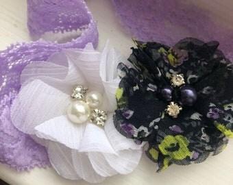 Purple Lace Headband-Lace Baby Headband-Newborn Lace Headband
