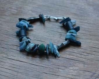 Ancient Chimu bead bracelet with kyanite and Tuareg silver