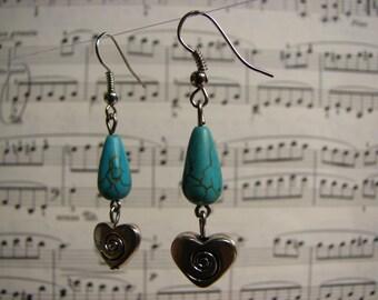 3650 -  Earrings Turquoise, Heart