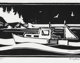 A Linocut Print of a Maine Lobsterboat, 5 x 8 inches