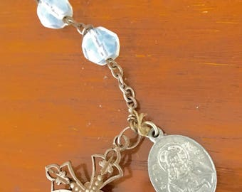 Old Rosary with silver and opaline glass faceted beads.