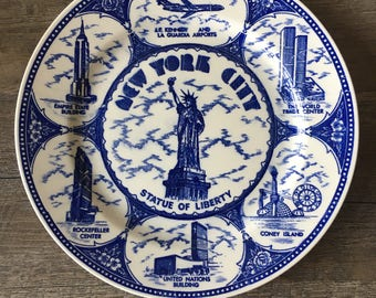 Vintage New York City Plate | NYC souvenir plate, blue transferware, NYC wall art, statue of liberty, decorative plates for hanging
