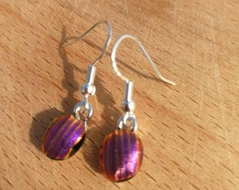 Fused glass, pink and orange stripes on sterling silver hooks