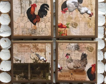 COASTERS! Rooster and chicken coasters with gold trim