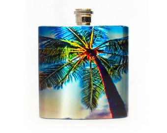 Palm Tree Flask / 6oz Stainless Steel Flask / Hawaii Wedding Party Favors / Tropical Wedding