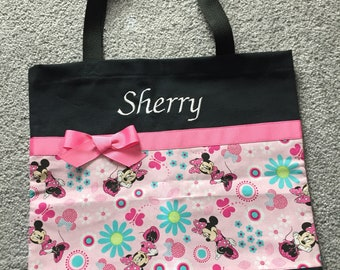 Minnie Mouse tote bag, Minnie cotton fabric bag, Birthday party bag, Recital gift idea, Free Embroidery!