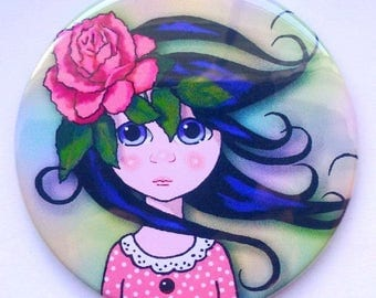 "Purse or Pocket Mirror, 3.5"", Surreal Art of Big-Eyed Girl With Flowing Hair, Pink Rose in Hair, Whimsical Art, Handy Mirror in Organza Bag"