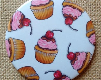 "Mirror for Purse or Pocket, 3.5"", Cupcakes, Pink Icing, Cherry On Top, Cupcake Pattern, Original Art, Handy Mirror in Organza Bag"