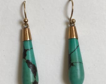 A Pair of Turquoise  Edwardian Earrings