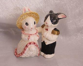 Vintage Rabbits Salt and Pepper Shakers Wedding cake topper