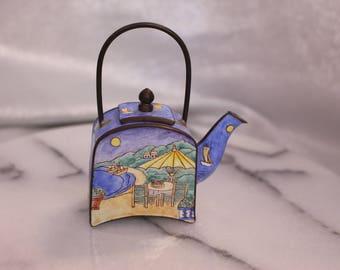 Mini Vintage Enamel Mini Tea Pot with Handle Beach theme