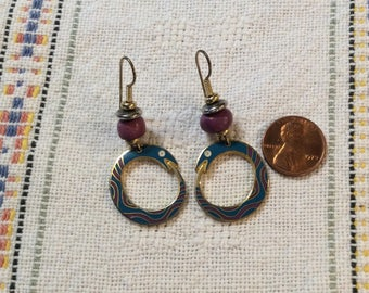 1980s Laurel Burch Enamel Cloissoine Snake Earrings