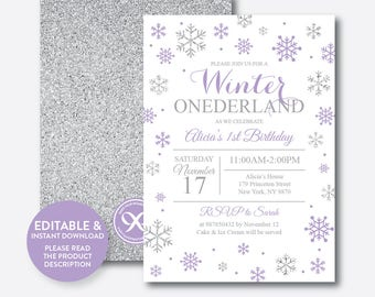 Winter onederland invitation Etsy