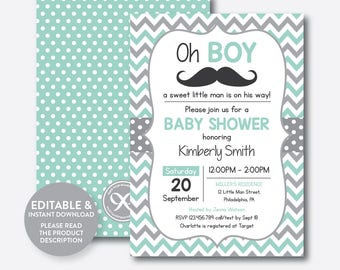 Instant Download, Editable Mustache Baby Shower Invitation, Mustache  Invitation, Little Man, Boy