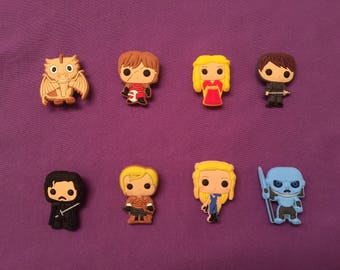 8-pc Game of Thrones Shoe Charms for Crocs, Silicone Bracelet Charms, Party Favors, Jibbitz