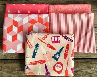 Fat Quarter Bundle - Orange Fat Quarter Bundle - Fat quarter bundle - Cotton and Steel - Modern Quilt Fabric - Fabric Bundle - 5 FQs