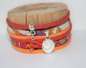 "Good luck charm bracelet ""Ste Lucy eye & coral"" red orange"