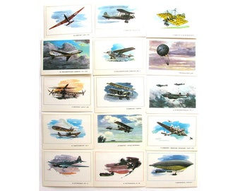 How man learned to flight, Set of 15 Soviet Unused Postcards, Illustration, Aircraft, Aviation, 1977