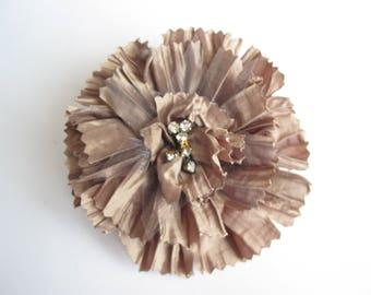 Brooch flower application in beige ruffled shiny fabric with Rhinestone Center