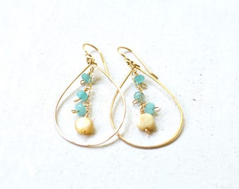 Gold teardrop chain earrings, Beaded teardrop earrings, Dangle bead earrings, Gold chain earrings, Teardrop Earrings
