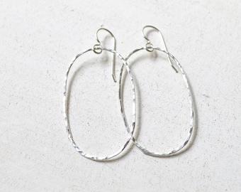 Oval Hoops, Oval Hoop Earrings Sterling or Gold, Hammered Oval Hoops, Large Oval Hoops, Hoop Earrings