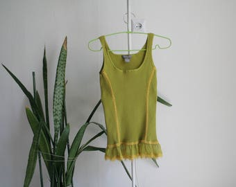 Vintage M/L lime green sleeveless top with ruffle hem