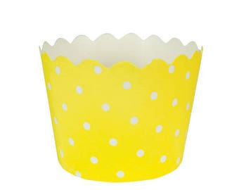 Set of 6 trays in paper - yellow dots
