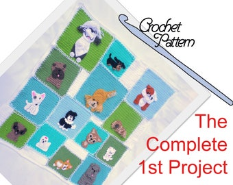 The Complete Patchwork Puppy Project - Quilt 1 // 14 dog breed appliques  // child-size patchwork quilt // Buy all & save // 47 pages