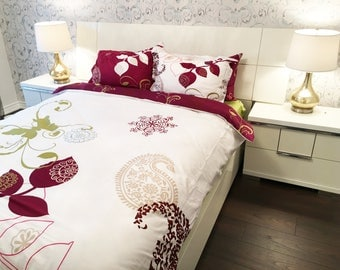 100% Cotton 6pcs set Zamora, duvet cover bed set, Queen Size (Set includes: duvet cover, flat sheet, 4 pillow cases)