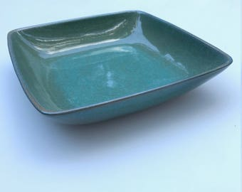 Large Glidden Celadon Stoneware Blue Green Gray Glazed Bowl Centerpiece Dish No. 23 Vintage Early Mid-Century Art Deco