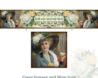 Tea Time Rose, Cover banner and Shop Icon, instant download, blank, vintage theme, lady with tea cup, feathered hat, window, pillar, woman