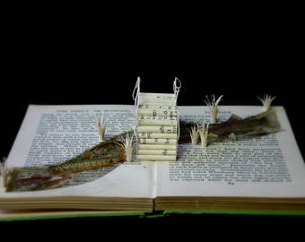 RIVER - Observers book of freshwater fishes. Altered book, book arts, book sculpture. Papercut art original OOAK. fishing fisherman gift