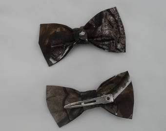 "Bow Tie hair clip 4""X2"" for girls and ladies #6 in fabric selection Realtree Ap cotton or 22 Other camo colors"