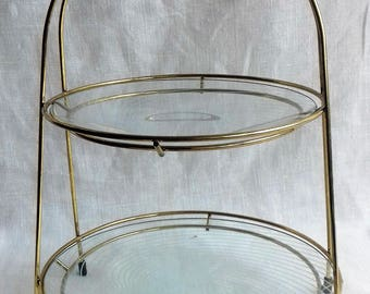 Vintage Chance Glass Two Tier Cake Stand