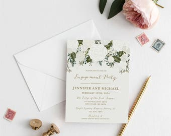Engagement Party Invitation Template, DIY Engagement Invite, Cheap Invitation, Floral Invitation, INSTANT Download PDF Template #CL112