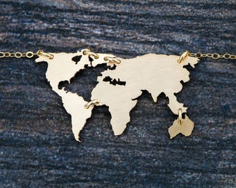 Gold World Necklace • Jewelry World Map Jewelry • Globe Necklace Map Charm • Earth Jewelry • 14K Gold Filled Jewelry Travel Charm