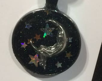 Starry Night  - resin pendant necklace