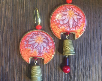 Earrings with Antique thimble