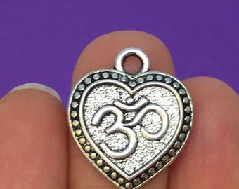 6 Om Heart Charms Antique Silver 22mm x 19mm - BUD12