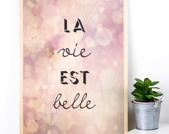 La Vie Est Belle Plywood Print; Life Is Beautiful; Wooden Sign; Wood Print; Wall Art; Home Decor; PWS016
